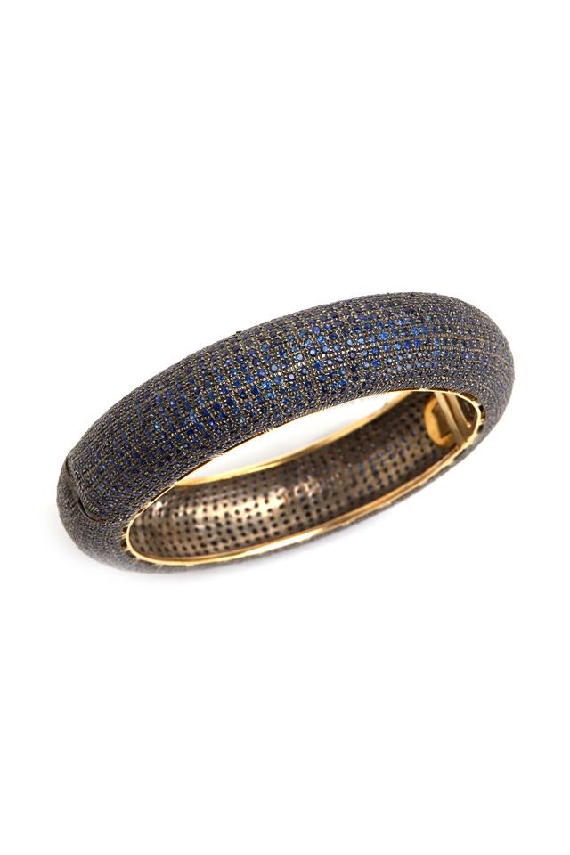 Pavé-Set Blue Sapphire Wide Bangle