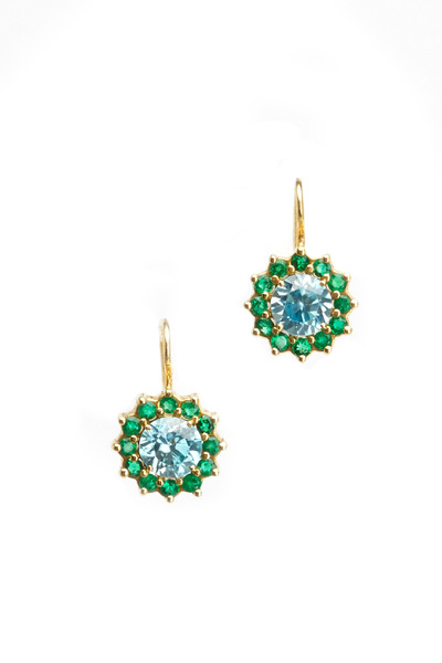 Renee Lewis - Yellow Gold Zircon & Emerald Cluster Earrings