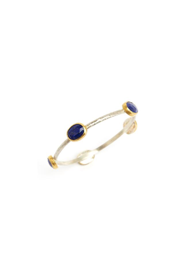 Sterling Silver Amorphous Lapis Stone Bracelet