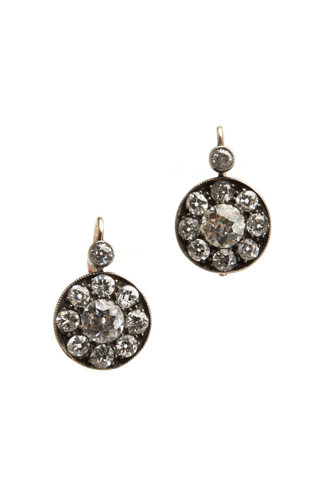 Silver Top Yellow Gold Cluster Earring