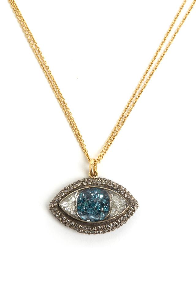 Diamond Rimmed Blue & White Eye Necklace