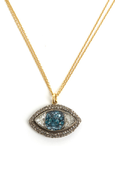 Renee Lewis - Diamond Rimmed Blue & White Eye Necklace