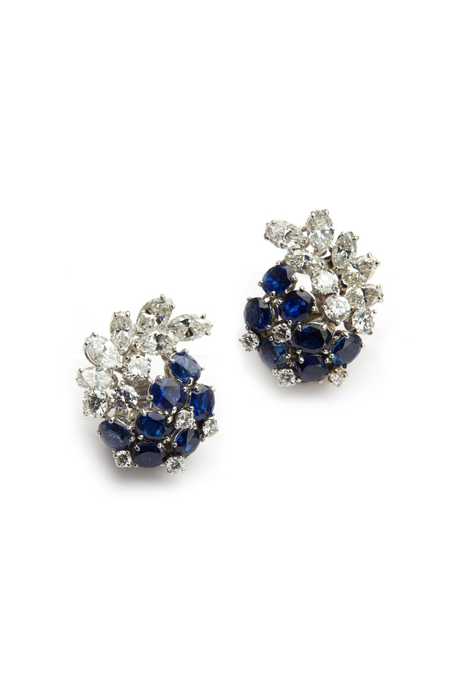Platinum Sapphire Diamond Cluster Earrings