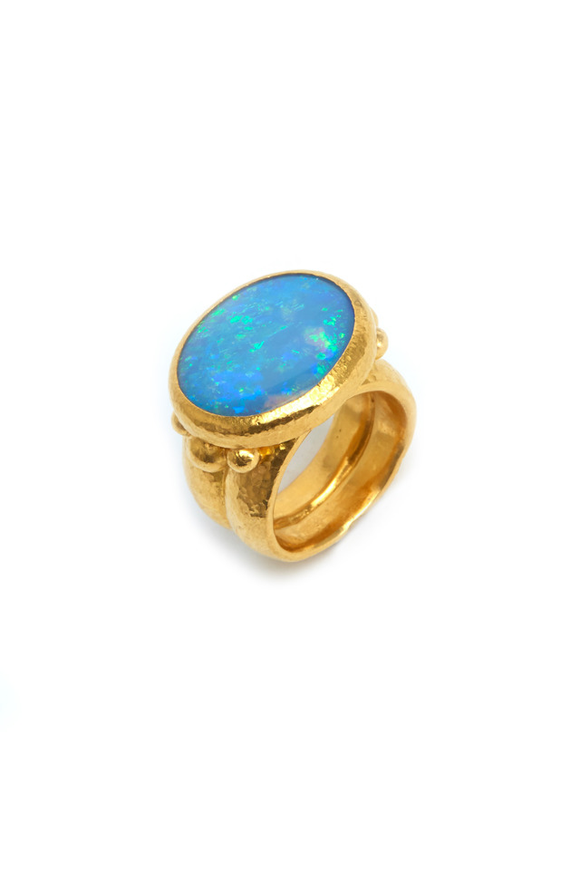 Gold Oval Opal Large Ring