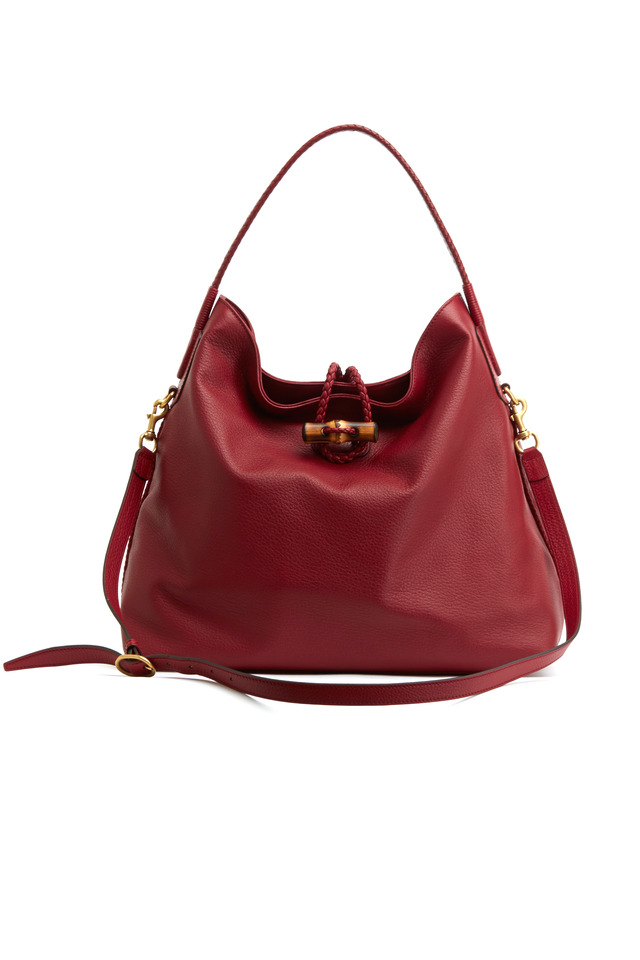 Red Leather Hip Bamboo Leather Shoulder Bag