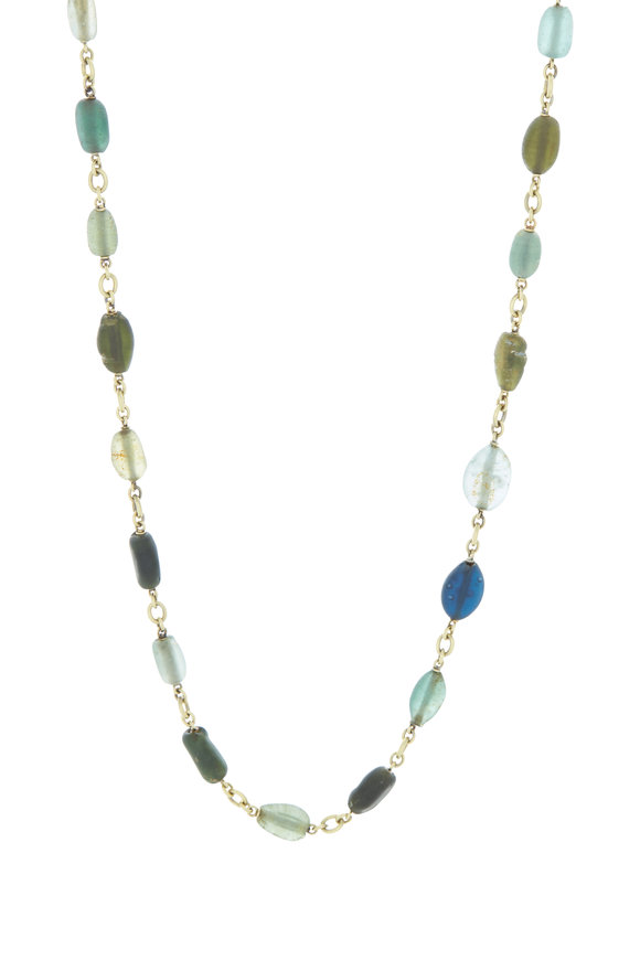 Sylva & Cie 18K Yellow Gold Roman Glass Necklace