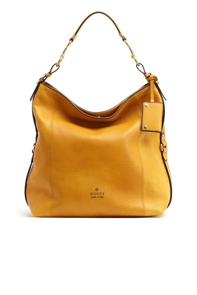 Harness Yellow Pebbled Leather Seamed Hobo