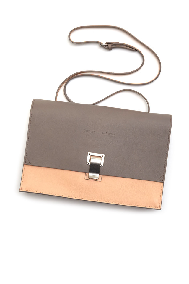 Lunch Grey & Pink Leather Clutch