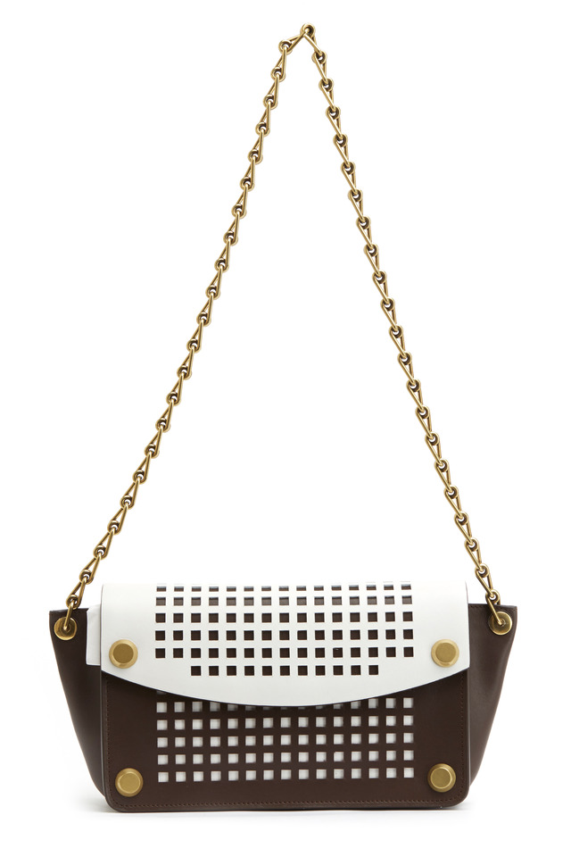 Anarchy Bionic Brown & White Leather Shoulder Bag