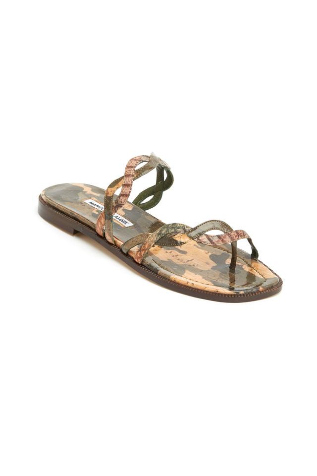 Olive Green & Snakeskin Cork Flat Sandals