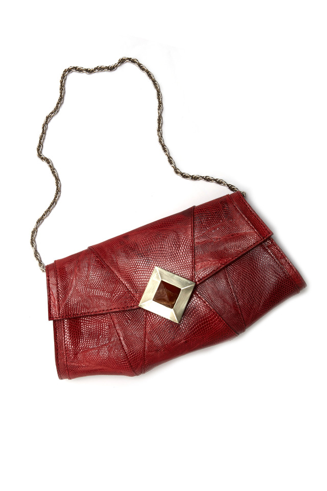 Jennifer Red Lizard Diamond Closure Clutch