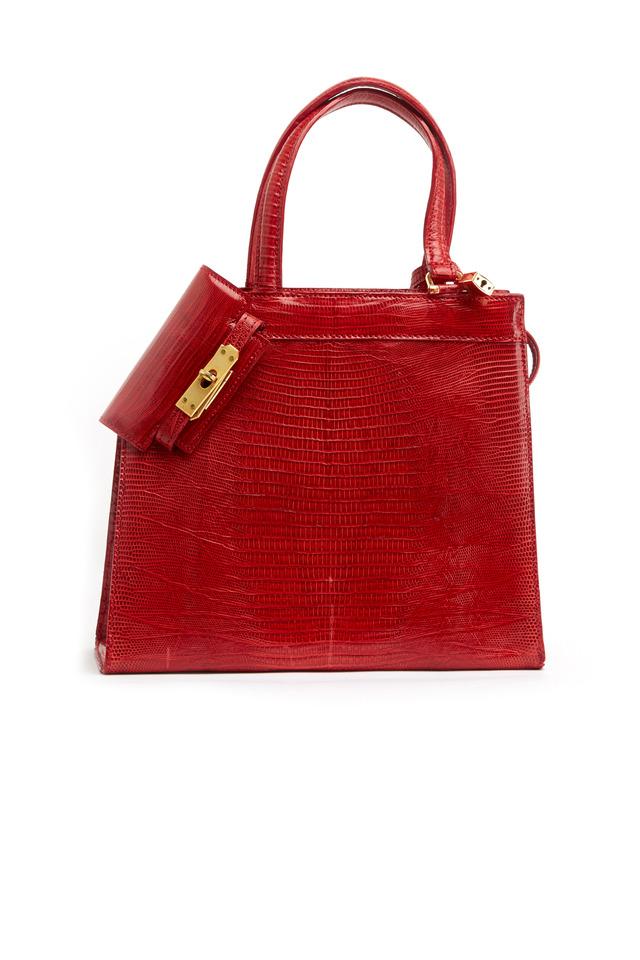 Isabella Red Lizard Handbag