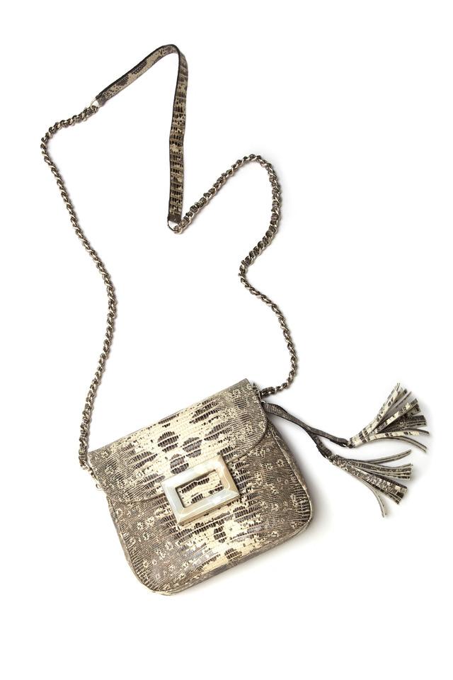 Julia Black & White Lizard Handbag