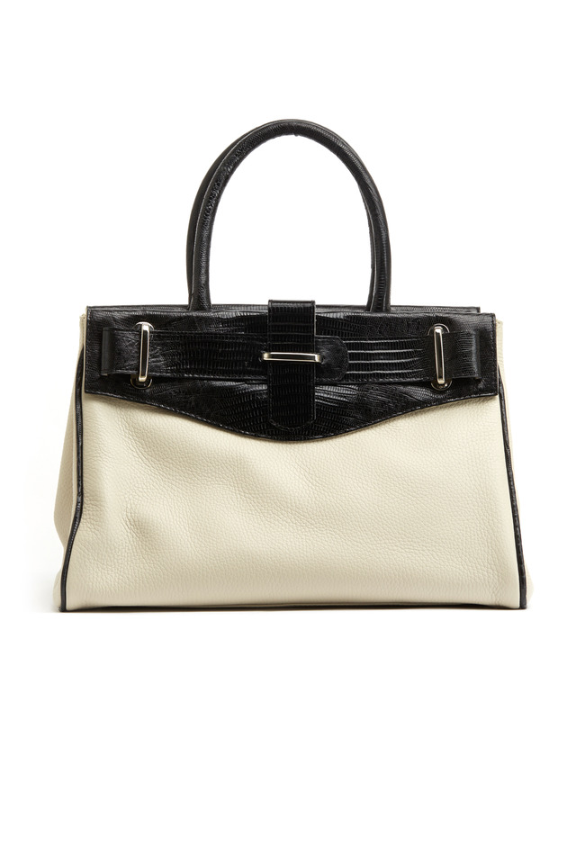 Charlotte Black Lizard & White Leather Handbag