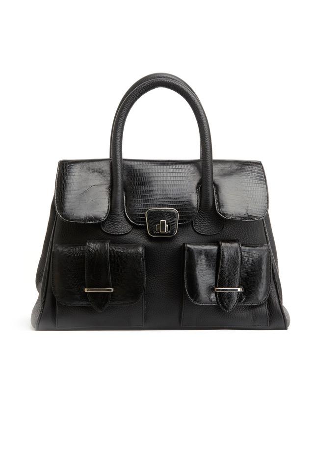 Olivia Black Lizard Handbag