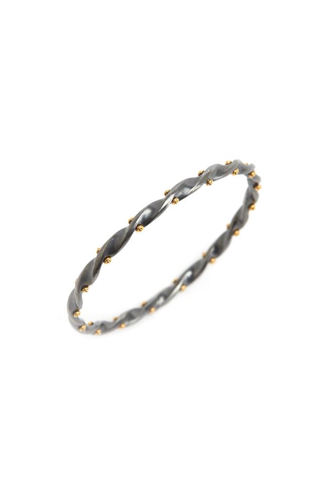 Twisted Gold Wide Bangle Bracelet