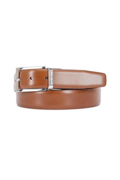 Ermenegildo Zegna - Cognac & Dark Brown Leather Reversible Belt