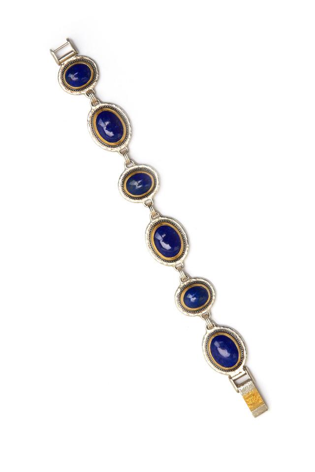 Gold Blue Moonstone Gem Diamond Bracelet