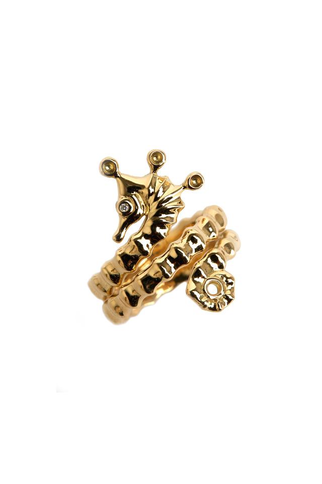 Yellow Gold Diamond Seahorse Wrap Ring