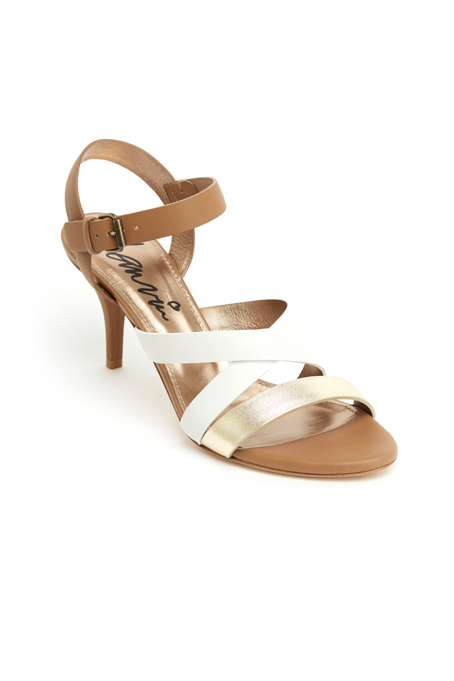 Gold & Ivory Leather Sandals