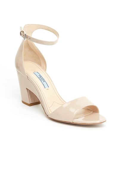 Prada - Nude Patent Leather Cut Wedge Sandals