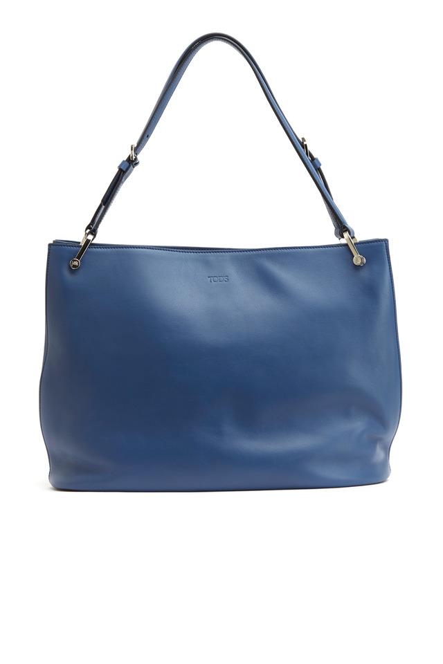 Blue Matte Leather East West Open Shopper