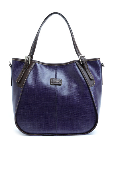 Tod's - G-Line Navy Blue Coated Linen Handbag