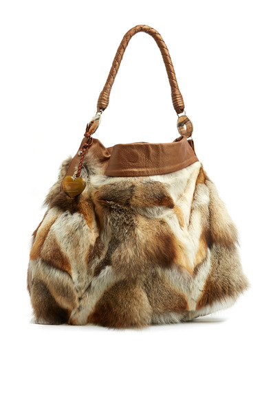 Daniella Ortiz - Antonella Beige Fox & Leather Handbag