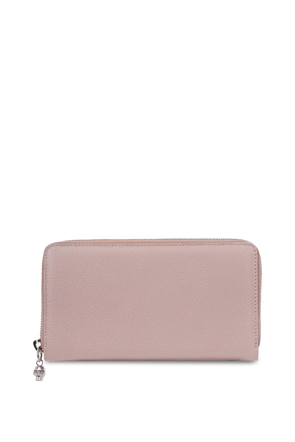 Alexander McQueen Rose Pebbled Leather Zip Continental Wallet