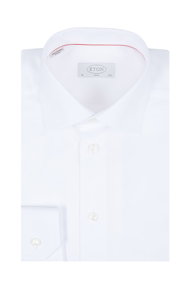 White Twill Slim Fit Dress Shirt