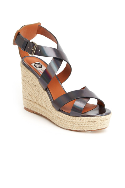 Lanvin - Gunmetal Leather Crisscross Espadrille Wedges