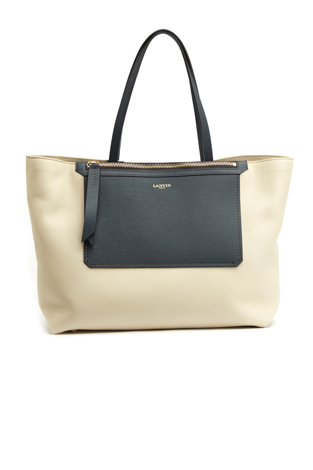 Easy Ivory & Blue Leather East West Shopper