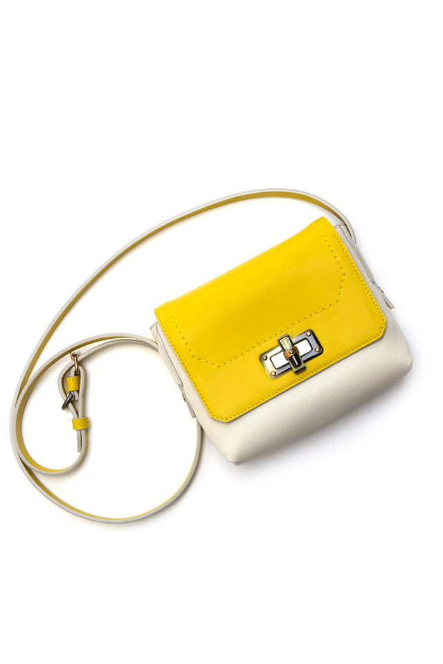 Happy Edgy Yellow Leather Mini Crossbody Bag