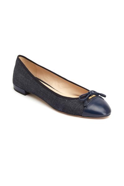 Prada - Blue Denim & Leather Cap Toe Ballet Flats