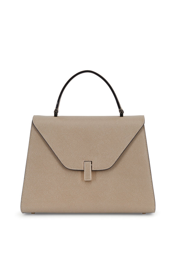 Valextra Taupe Leather Top Handle Bag