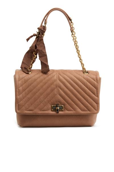 Lanvin - Happy Edgy Beige Leather Flap Handbag