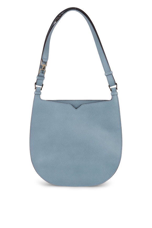 Valextra Weekend Cloud Blue Leather Convertible Hobo Bag