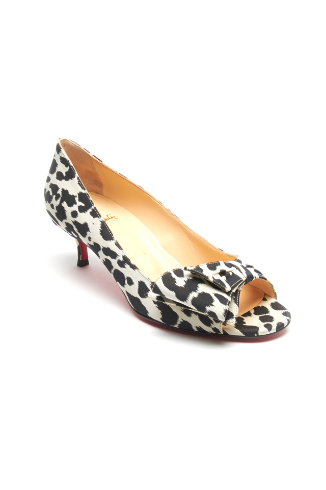 Just Soon Black & White Leopard Kitten Heel Pumps