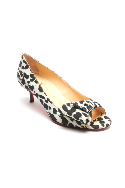 Christian Louboutin - Just Soon Black & White Leopard Kitten Heel Pumps