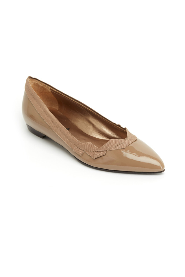 Beige Patent Leather Pointed Flats