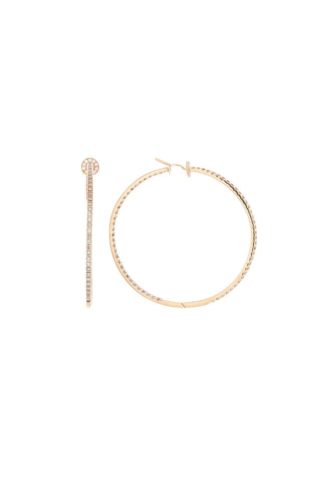 Pink Gold Champagne Diamond Hoop Earrings
