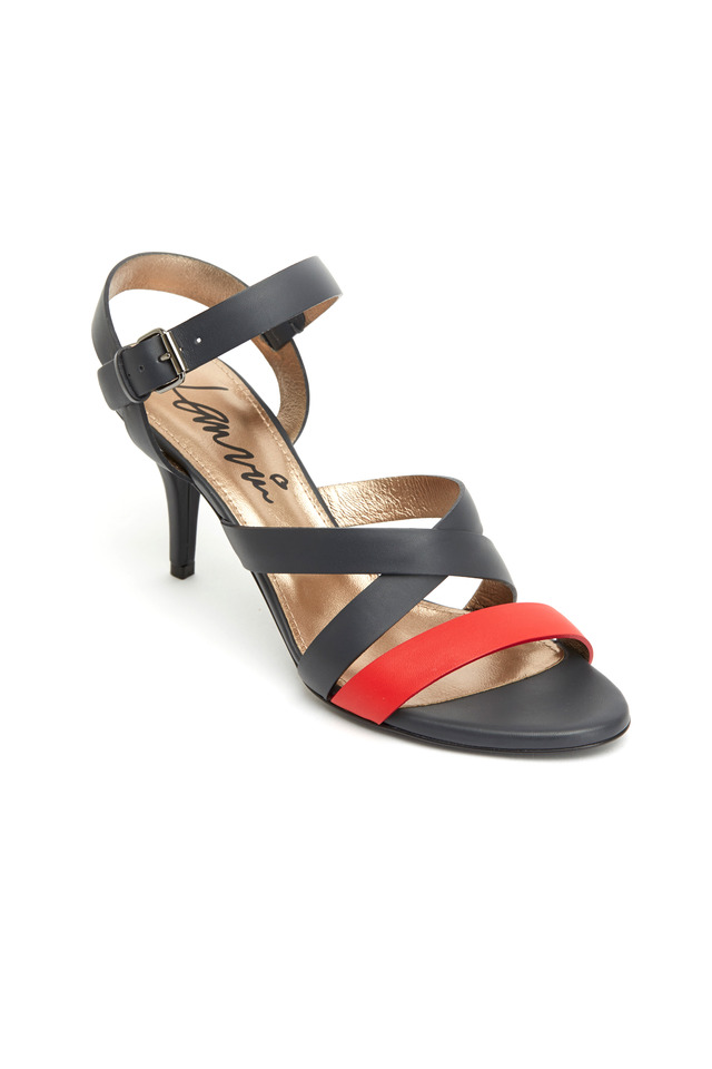 Red & Navy Blue Leather Sandals
