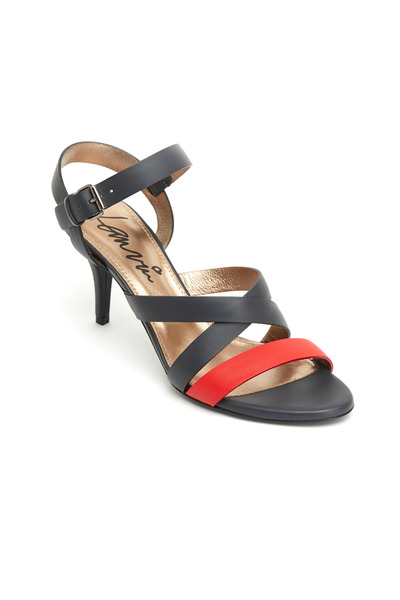 Lanvin - Red & Navy Blue Leather Sandals