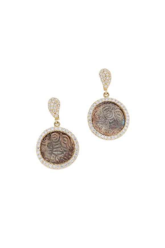 Coomi 20K Yellow Gold Diamond Coin Earrings