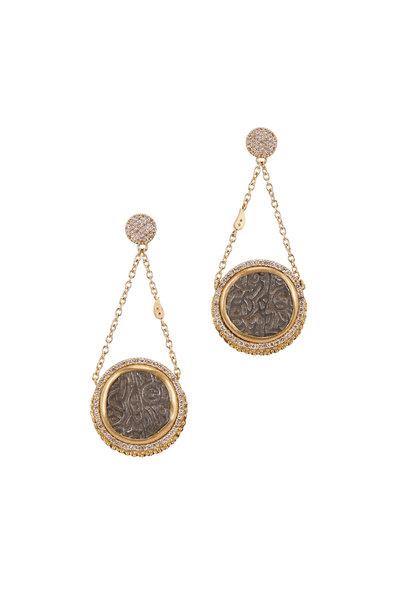 Coomi - 20K Yellow Gold Diamond Coin Earrings