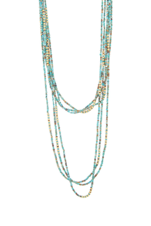 Yossi Harari 24K Gold Turquoise Strand Necklace