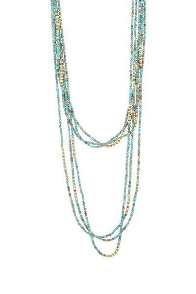 Yossi Harari - 24K Gold Turquoise Strand Necklace