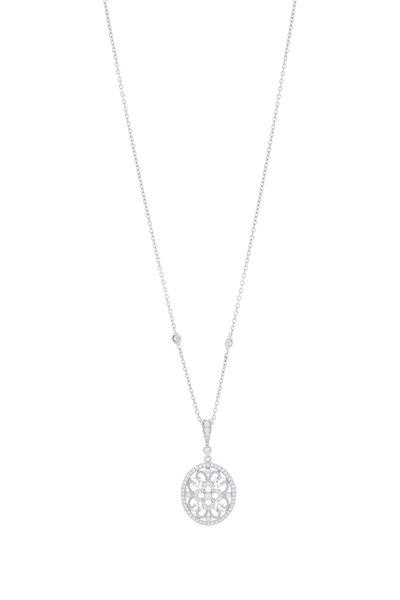Penny Preville - White Gold Lace Pendant Necklace