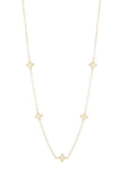Caroline Ellen - Yellow Gold Flower Diamond Necklace