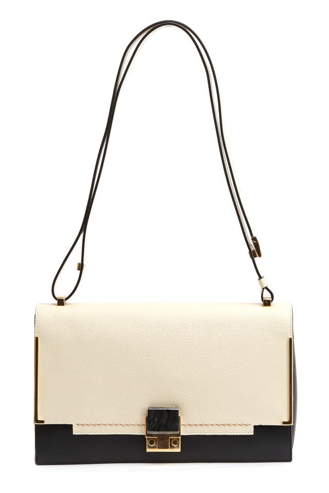 Partition Ivory & Black Saffiano Sport Handbag